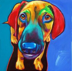 Colorful Dog Painting by Ron Burns.