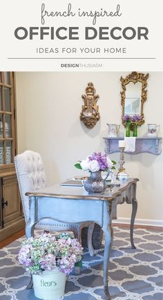 Looking for office decor ideas with French Country style? Here's how I unified. Looking for office decor ideas with French Country style? Here's how I unified the look of our ho French Country Farmhouse, French Country Decorating, Country Farmhouse Decor, Chic Office Decor, Home Office Design, Country Office, French Country Bedrooms, Country Decor, French Decor