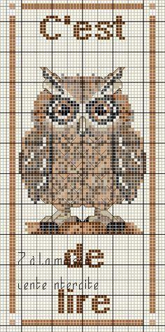 Cross Stitch Owl, Cross Stitch Bookmarks, Cross Stitch Animals, Cross Stitching, Cross Stitch Embroidery, Cross Stitch Patterns, Owl Sewing, Loom Beading, Pet Birds