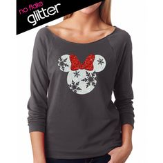 glitter disney christmas holiday snowflake minnie lightweight 24 liked on