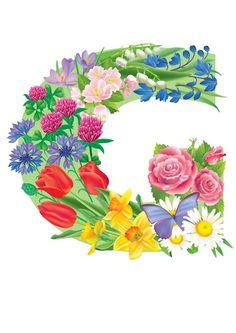 The Letter G ~ Spring Garden Alphabet Alphabet Letters Design, Monogram Alphabet, Alphabet And Numbers, Letter Designs, Letter Symbols, Letter G, Carol Jones, Birthday Logo, Floral Letters