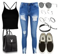 """Sin título #13056"" by vany-alvarado ❤ liked on Polyvore featuring Boohoo, Ray-Ban, Vans, Links of London and ASOS"
