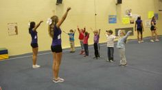 On April 1, the cheerleaders planned a high-energy program to teach cheers, tumbling and physical activities to a group of 20 preschool aged kids from the local Harrisonburg Rockingham Child Day Care Center (HRCDC).