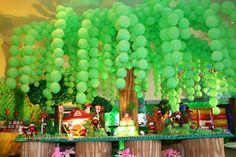 Portal Splash Party Safari Theme Birthday, Zoo Birthday, Dinosaur Birthday Party, Jungle Party, Safari Party, Baby Party, Jungle Decorations, Balloon Decorations, Splash Party