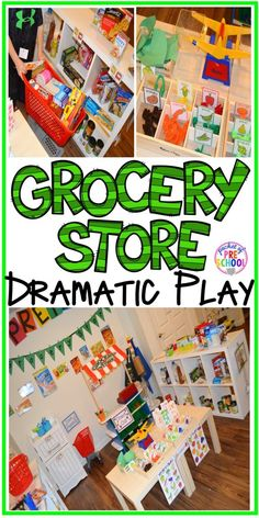 Grocery Store dramatic play! How to set it up and add literacy and math opportunities to the grocery store in your preschool, pre-k, and kindergarten classroom.