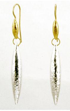 Gurhan 24KT Gold and Silver Wheat Earrings. Hook earrings with White Silver and Gold Wheat beads.