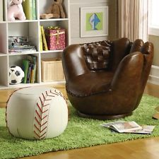Sporty Dark Brown Faux Leather Accent Baseball Glove Chair with White Ottoman