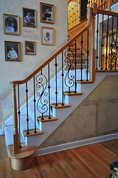 My fave wrought iron stair railing design Wrought Iron Stair Railing, Stair Railing Design, Stair Handrail, Stair Decor, Staircase Railings, Railing Ideas, Banisters, Replace Stair Railing, Rod Iron Railing