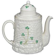 Belleek Lighthouse Teapot in shamrock pattern, parian (porcelain) china, Ireland Irish Pottery, Irish Tea, Belleek China, Belleek Pottery, Silver Teapot, Irish Cottage, Cuppa Tea, Blue And White China, Pot Sets