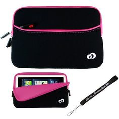 """Pink w/ Black Slim Design Soft Neoprene Carrying Cover Case with extra pocket for Pandigital Novel 7"""" Color Multimedia White eReader + Indlues a 4-Inch Determination Hand Strap by eBigValue. $17.49. Fits Pandigital Novel eReader //2 Tone Zipper Glove Case with Extra Pocket  This unique book cover is not only stylish, but offers optimal protection and comfort. Simply insert your eRader into the cover and your accessories in to the extra pocket of the case and rest ..."""