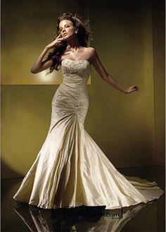 Beautiful Gorgeous Divine Taffeta Mermaid Strapless Scooped Wedding Dress In Great Handwork