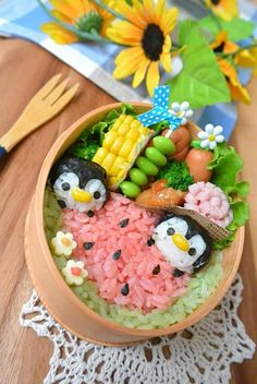 Penguin and Watermelon Rice Bento