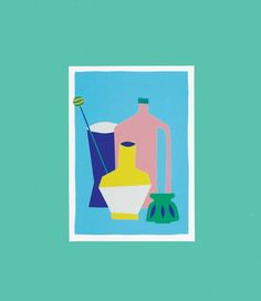 Colorful screenprint of a stil life including by weareoutofoffice