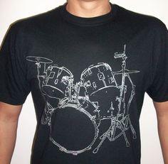 Drums T shirt cool Musician T-shirt screenprinted DRUMER Tee. $13.99, via Etsy.
