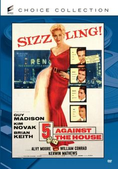 """"""" Against the House """" - 1955 film poster, starring Guy Madison, Kim Novak and Brian Keith Brian Keith, Classic Film Noir, Classic Movies, Old Movies, Vintage Movies, Vintage Ads, Reno Casinos, Guy Madison, Old Posters"""