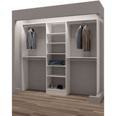 Organize shoes, clothes, and accessories and make the most of your closet space with this reach-in closet organizer. This reach-in closet organizer has six shelves, three drawers, and four closet rods Bedroom Closet Design, Master Bedroom Closet, Closet Designs, Diy Bedroom, Small Basement Bedroom, Small Closet Design, Small Master Closet, Custom Closet Design, Custom Design