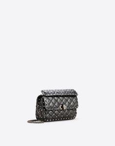 VALENTINO Valentino Garavani Rockstud Spike Small Bag. #valentino #bags #shoulder bags #hand bags #lining #crossbody #suede #