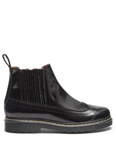 Trek-sole patent leather brogue-detail ankle boots