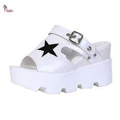 985c0d1f375 Chaussures Ouneed · Ouneed®Eté Fille Femmes 8.6cm cm Talon Compense Haut  Plateforme Sandale (39
