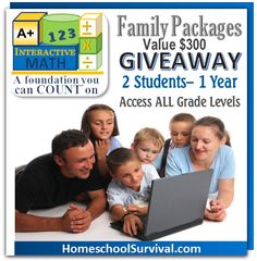 Win a 2 Student Family Math Program for one year!  From A+ Interactive!