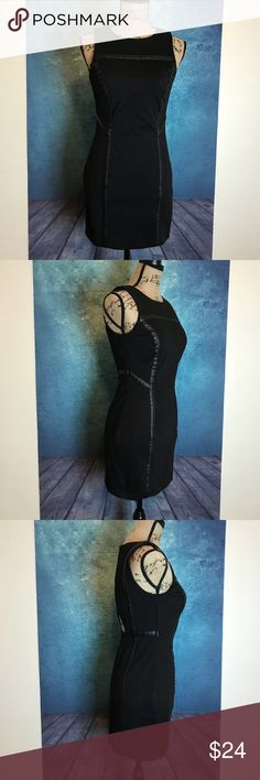 BCBG Mini Black Line Leather open back Dress Sz 4 MEASUREMENTS∴ in inch  Pit to Pit>18 Shoulder to Shoulder>12 Length---->32  Measurements Are Approximate  And May Vary Slightly.  #8 BCBGeneration Dresses Mini