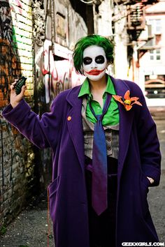 Geek Girl Natalie as a cartoon Lady Joker - click for more photos with Batman  sc 1 st  Pinterest & DIY Halloween Costume: Dark Knightu0027s The Joker | DIY Halloween ...