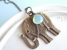 Elephant Necklace   Statement Jewelry  Green by linkeldesigns, $27.00