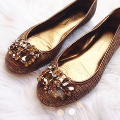 Antonio Melani Bronze Jewel Flats Super cute and perfect for everyday! Excellent condition! No trades!! 1218154gwb ANTONIO MELANI Shoes Flats & Loafers