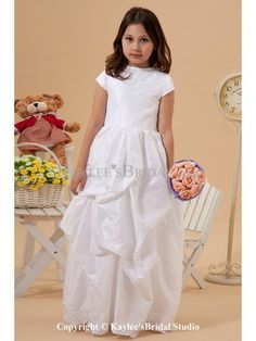 Taffeta Jewel Neckline Floor Length Ball Gown Flower Girl Dress with Embroidered and Cap-Sleeves