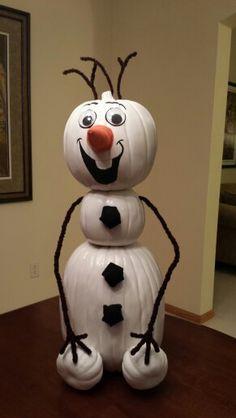 Olaf the pumpkin snowman-cute pumpkin idea! Olaf Pumpkin, Pumpkin Snowmen, Christmas Pumpkins, Pumpkin Books, Disney Pumpkin, Pumpkin Crafts, Christmas Projects, Halloween Pumpkins, Halloween Crafts