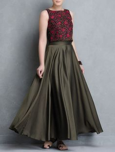 Black-Red thread embroidered silk crop top in 2019 Indian Designer Outfits, Indian Outfits, Designer Dresses, Long Gown Dress, Lehnga Dress, Long Skirt And Top, Long Skirt Top Designs, Long Skirts, Maxi Skirts