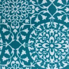 Extra Wide Premium Fleece Fabric- Teal Floral Circles