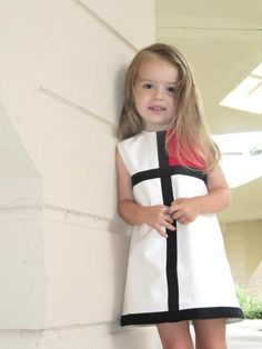 Retro 1965 Inspired  Red or Pink color block dress-children clothing-girls. $50.00, via Etsy.