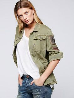 e05fc6ec41 Boho Army Jacket Shirt Embellished Seed Bead Military Officer Stripes Eagle  Button Down Khaki Olive Drab Sizes Small Medium Or Large