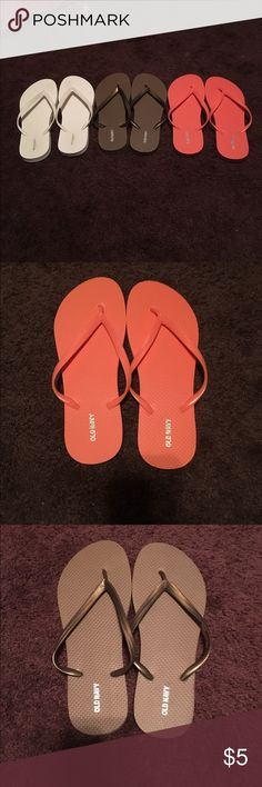 3 pairs of Old Navy Flip Flops Never worn, like new flip flops. Size 9! Colors: White, gold and salmon! Old Navy Shoes Sandals