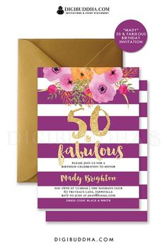 50 & Fabulous purple & gold stripes birthday invitation with gold glitter birthday party invitation. Personalized with any age, 16th birthday, 30th birthday, 1st birthday, 2nd birthday, 3rd birthday, any age. Matching envelope liner and black envelope is available also in the shop, only at digibuddha.com. If you like UX, design, or design thinking, check out theuxblog.com