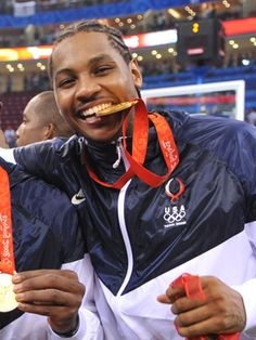 Carmelo Anthony (Basketball) - Anthony won a Gold Medal in the 2008 Olympic Games. He was a member of the 2008 U.S. Olympic Team that finished 8-0 and won the gold medal. Averaged a team fourth best 11.0 ppg., 4.3 rpg. and 1.0 spg. He was a five-time (2007, 2008, 2010, 2011 and 2012) NBA Conference All-Star Team member and four-time starter (2008, 2010, 2011 and 2012).