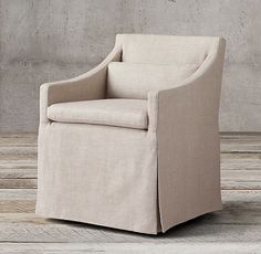 Low Belgian Slope Arm Slipcovered Side Chair New Home