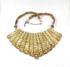 Vintage Beige Brown Cream Statement Carved Bone Necklace , Boho Hippie African Tribal Bold Fan Necklace