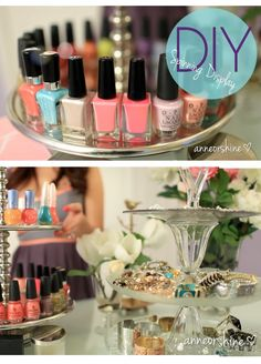 How to Make Spinning Nail Polish / Jewelry 3-tier Display Fixture DIY |Easily make jewelry holder with Dollar Store finds