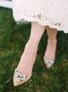 bride2be:  photo by karen wise gorgeous floral wedding shoes