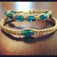 hemp bracelets set. hemp macrame bracelets. blue bracelets. ankle and wrist bracelets set. glass beads.