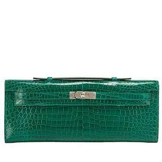 Hermes-Emerald-Shiny-Porosus-Crocodile-Kelly-Cut