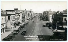 North Chester Avenue from the Beale Clock Tower, Bakersfield, California. Image taken mid 1930's. This image shows a large amount of activity happening in the heart of Downtown Bakersfield. Unfortunately, many of these buildings are now either gone or have been dramatically remodeled.