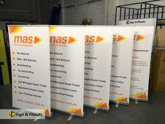 Also called retractable or pull-up banners, roll-up banners are cost-effective and high-impact signs for your business. At Sign & Fitouts, we create portable and fully customisable roll-up banners and media walls. Tax Accountant, Media Wall, Banners, Signs, Banner, Shop Signs, Posters, Sign, Bunting