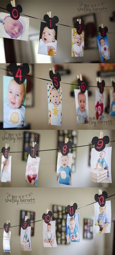Cute idea!! Put a pic of each month of his 1st year at his party!! Love it!