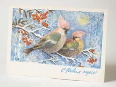 Vintage winter postcard  waxwings New Year's card by SovietEra