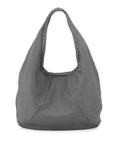 Bottega Veneta Cervo Medium Open-Shoulder Hobo Bag, Gray BGF16_L0JUL