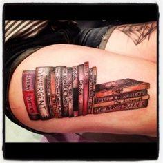 book thigh tattoo