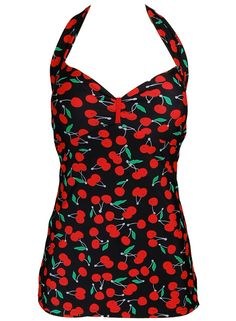 Cherry Vintage Pin up Rockabilly Halter Neck Swimsuit Badeanzug S (36-38) in Clothing, Shoes, Accessories, Women's Clothing, Swimwear | eBay